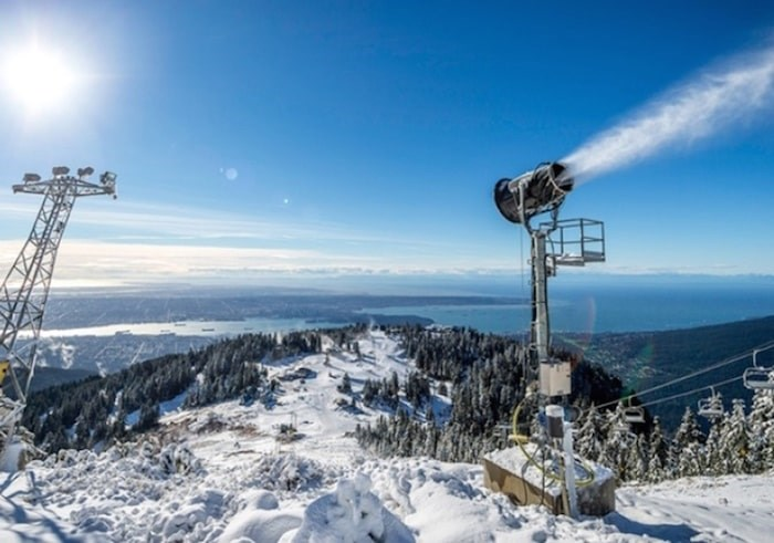 The snow-making system at Grouse Mountain, the first of its kind in B.C. when it was installed in the 1970s, still provides the resort with fresh snow when the flakes aren't falling from the clouds Photo supplied