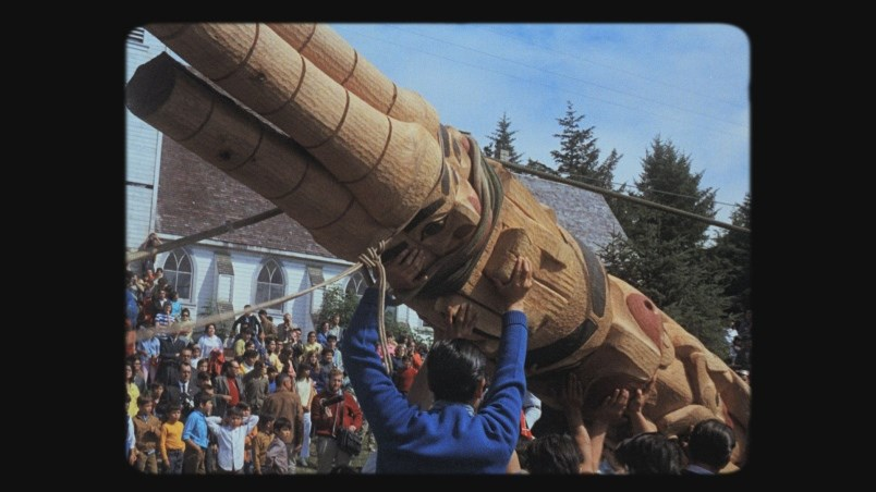 Haida director Christopher Auchter's Now Is the Time journeys through history to revisit the day in August 1969 when three generations of Eagle and Raven clan gathered to raise the first totem pole on Haida Gwaii in over a hundred years. Photograph By courtesy National Film Board