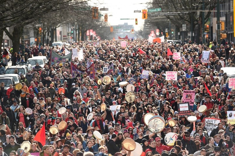 Thousands marched through Vancouver's Downtown Eastside Friday, Feb. 14 for the annual Women's Memorial March honouring the lives of missing and murdered women. Photo Dan Toulgoet
