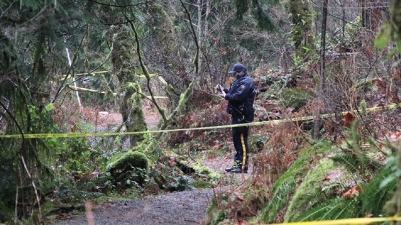 an-rcmp-officer-on-scene-of-a-suspicious-fire-and-death-in-coquitlam-s-minnekhada-regional-park