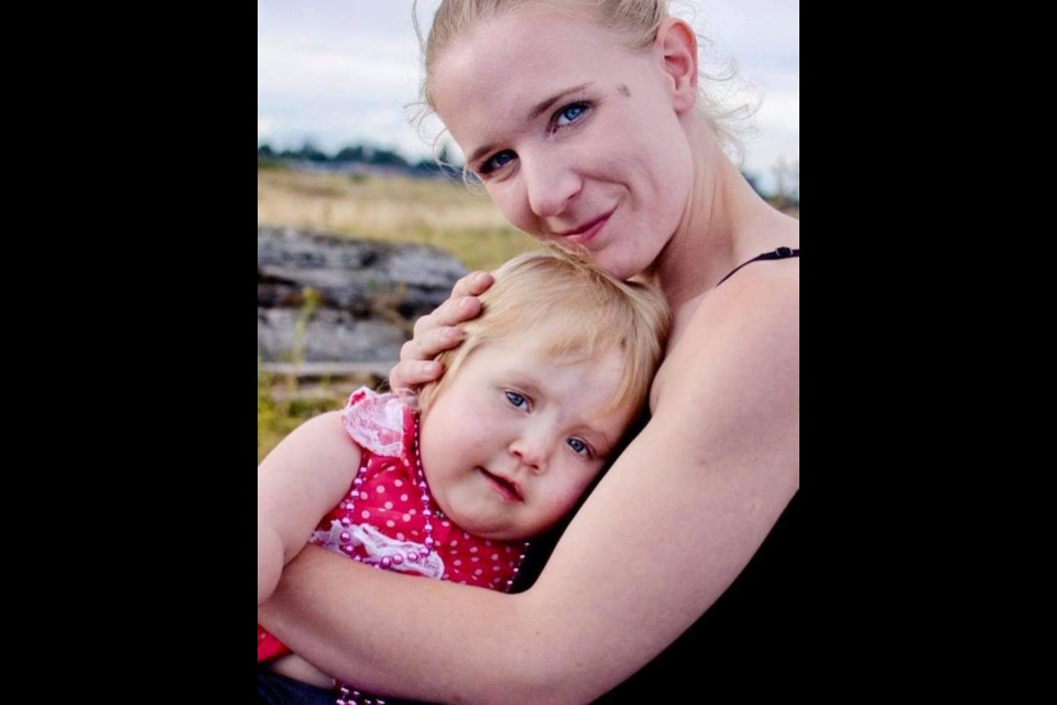 MaryAnn Fallow with her daughter Sophia. She lost her battle to substance abuse back in May. Now her parents are in the process of adopting Sophia who has a rare genetic syndrome. (via Fallow family)