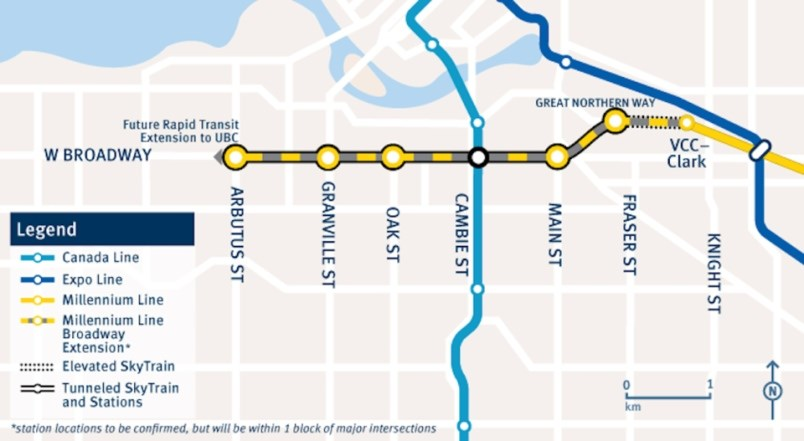 The 5.7-kilometre extension of the Millennium Line will add six more stations along Broadway and is expected to be completed by 2025 and cost $2.83 billion.