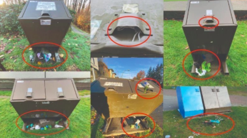 a-collection-of-photos-of-dog-waste-bags-next-to-port-coquitlam-trash-bins