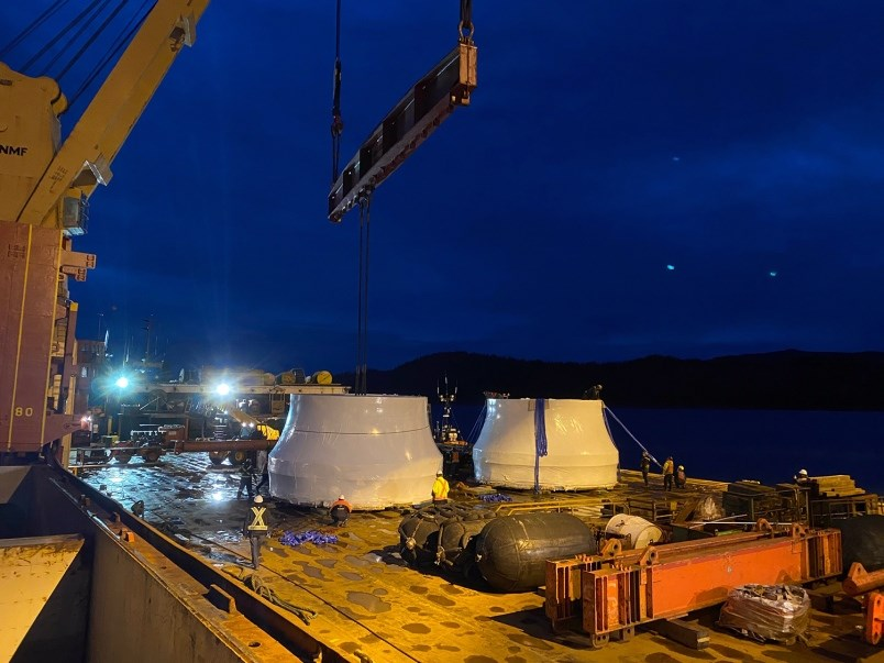 Two turbine runners earmarked for Site C at the Port of Prince Rupert. The second is expected to arrive north of Chetwynd on Jan. 31, 2021. / BC Hydro