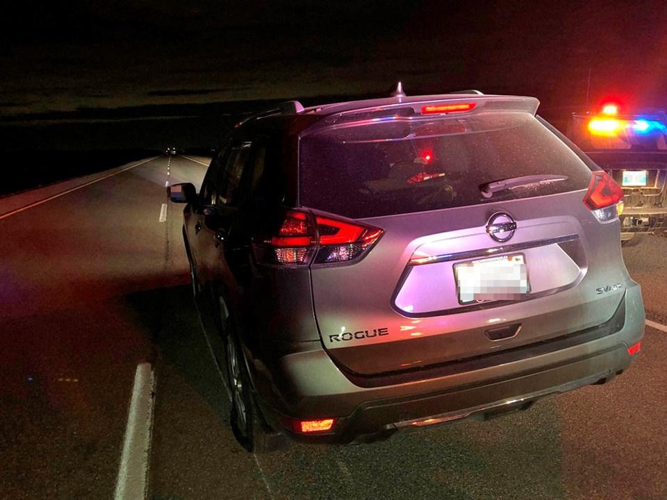 Victim vehicle stopped