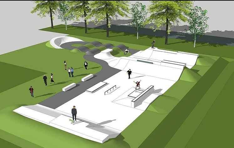 Conceptual drawing of the skatepark.