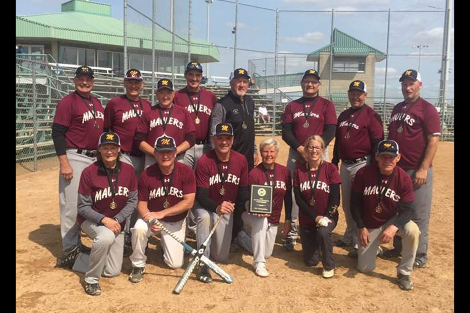 The Maulers slo pitch team win  Seniors Competitive division, provincial championship. Stephen Densmore, Doug Roach and Brian Mytopher were all part of the successful Maulers squad.