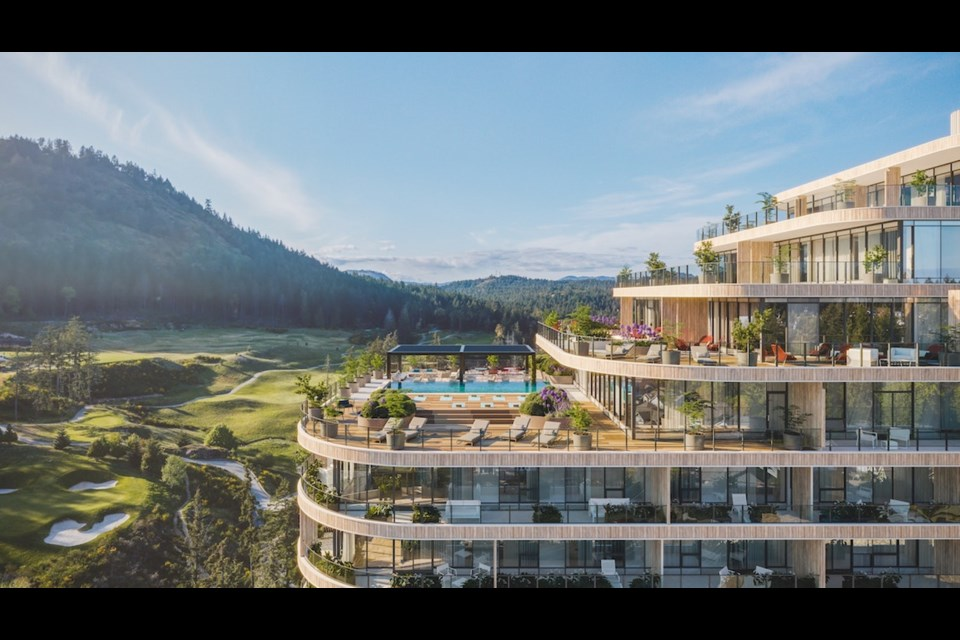 One Bear Mountain, by Terracap Group and 360 Pacifica Capital Corp, is an 18-storey, 209-unit luxury condo development that completes in 2024. | Rew.ca