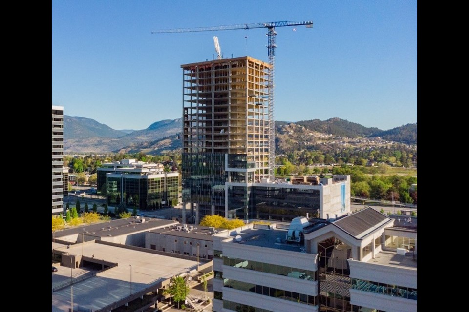 The 23-storey Landmark 7 office tower is 'capped off' June 30.   Stober Construction