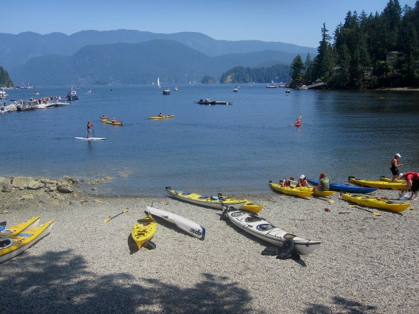 View from the beach at Deep Cove Canoe and Kayak